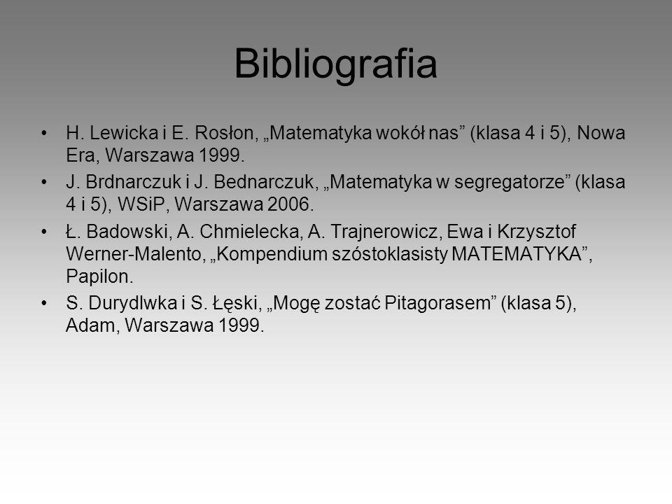 "Bibliografia H. Lewicka i E. Rosłon, ""Matematyka wokół nas (klasa 4 i 5), Nowa Era, Warszawa 1999."