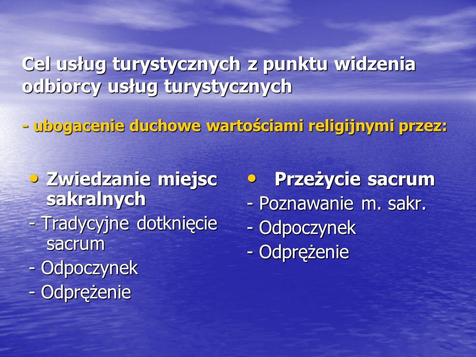 Cel usług turystycznych z punktu widzenia odbiorcy usług turystycznych - ubogacenie duchowe wartościami religijnymi przez: