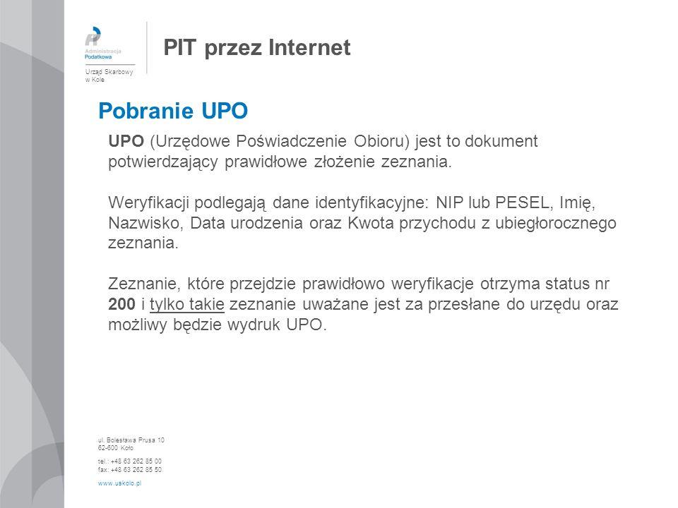 PIT przez Internet Pobranie UPO