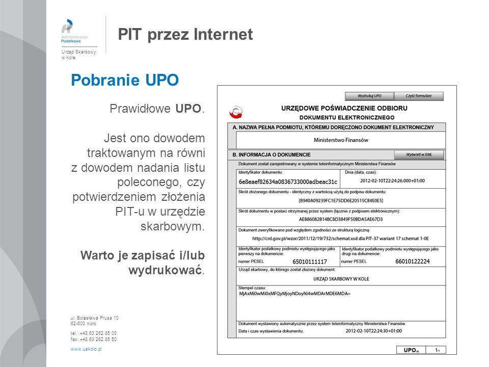 PIT przez Internet Pobranie UPO Prawidłowe UPO.