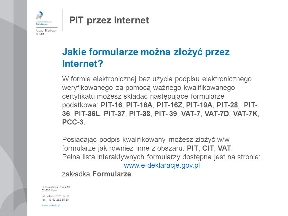Jakie formularze można złożyć przez Internet