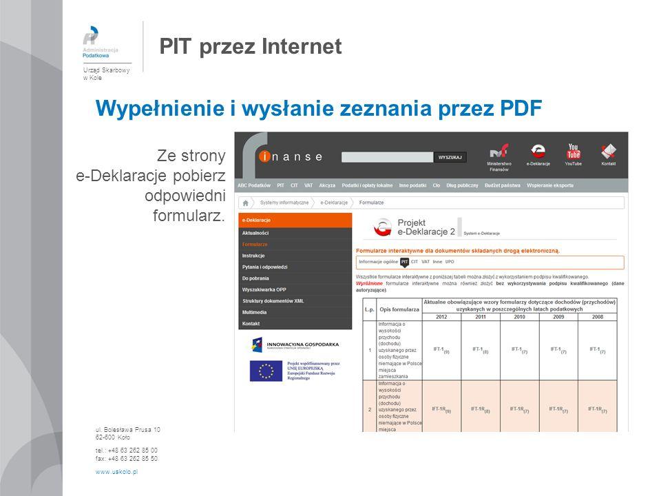 Wypełnienie i wysłanie zeznania przez PDF