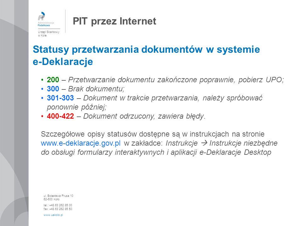 Statusy przetwarzania dokumentów w systemie e-Deklaracje