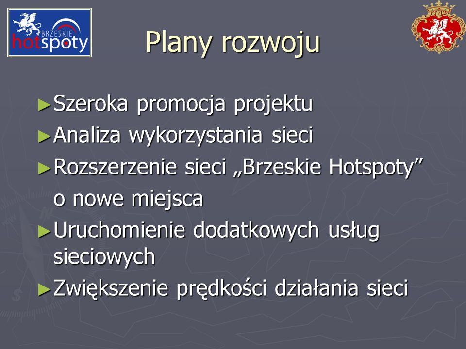 Plany rozwoju Szeroka promocja projektu Analiza wykorzystania sieci