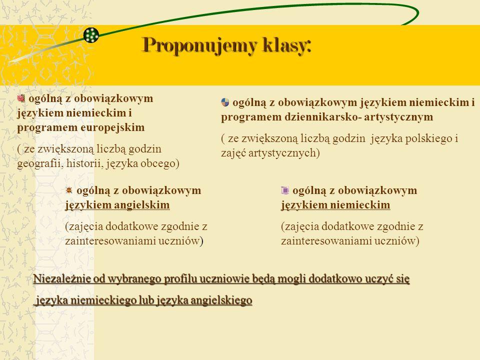 Proponujemy klasy: ogólną z obowiązkowym językiem niemieckim i programem europejskim.