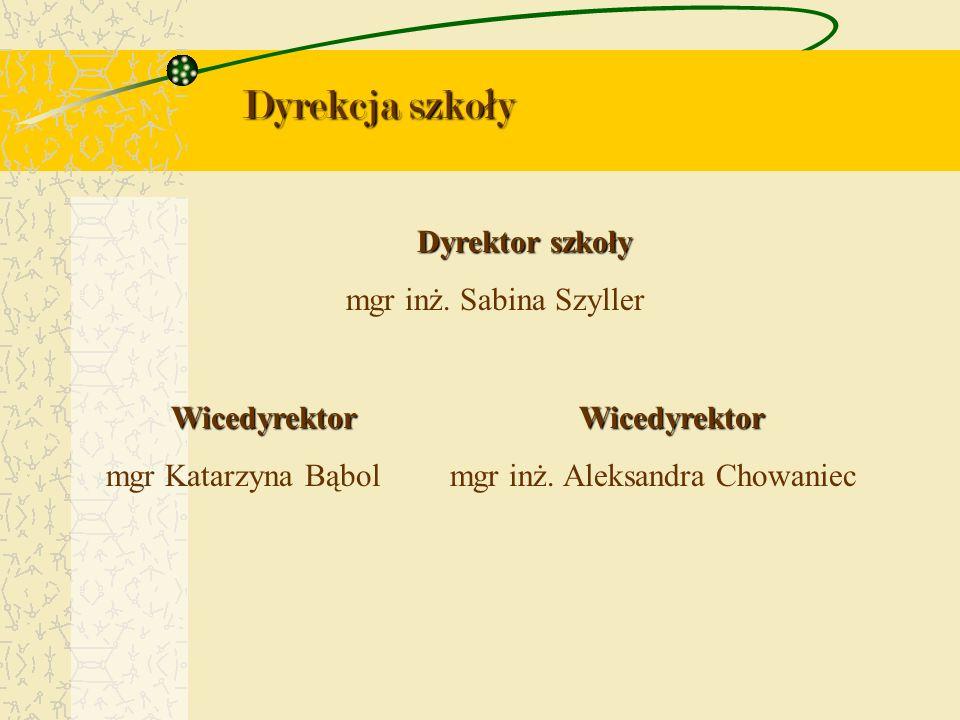 Dyrekcja szkoły Dyrektor szkoły mgr inż. Sabina Szyller Wicedyrektor