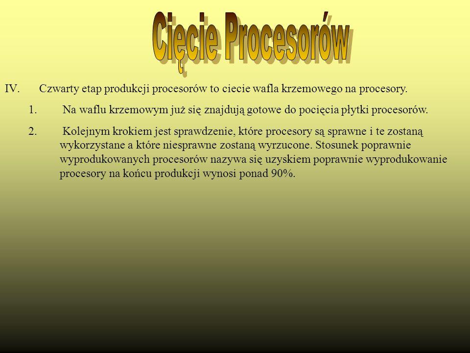 Cięcie Procesorów Czwarty etap produkcji procesorów to ciecie wafla krzemowego na procesory.