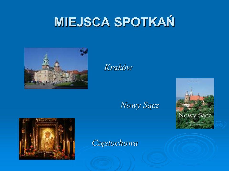 MIEJSCA SPOTKAŃ Kraków Nowy Sącz Częstochowa