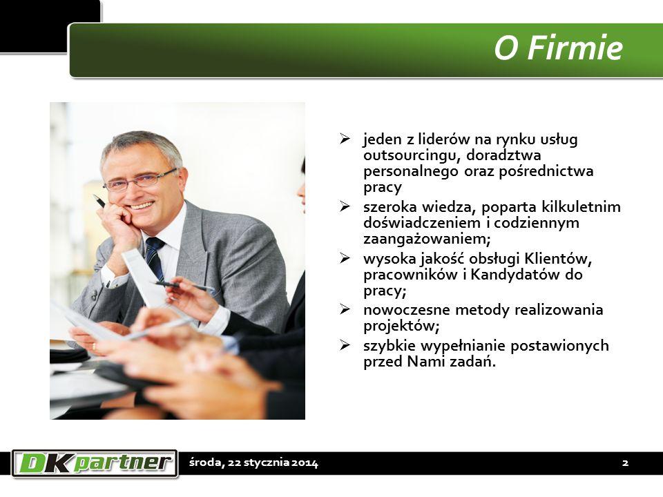 O Firmie jeden z liderów na rynku usług outsourcingu, doradztwa personalnego oraz pośrednictwa pracy.