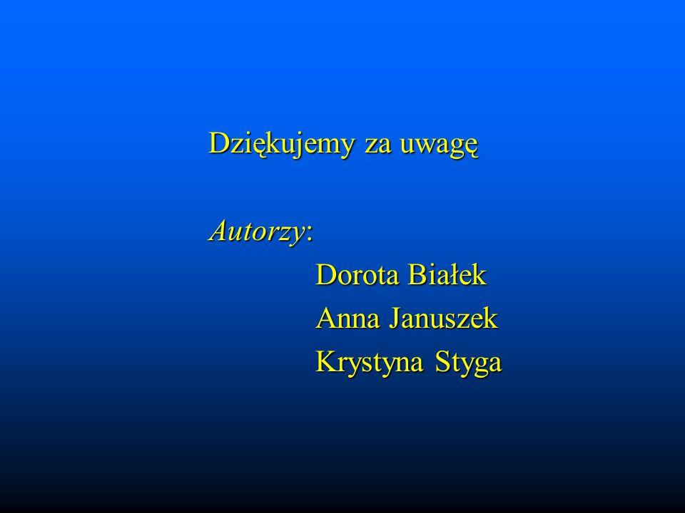Dziękujemy za uwagę Autorzy: Dorota Białek Anna Januszek Krystyna Styga