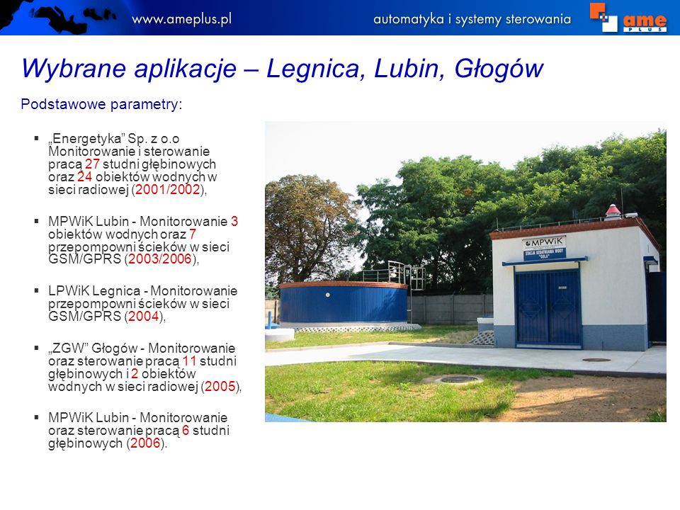 Wybrane aplikacje – Legnica, Lubin, Głogów