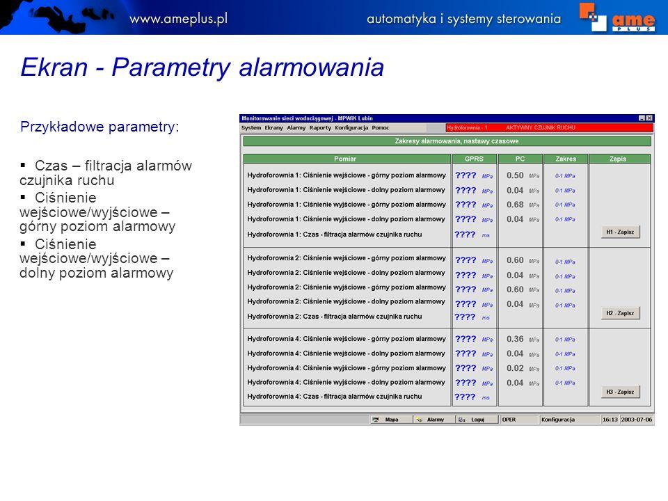Ekran - Parametry alarmowania