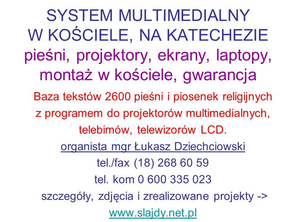 SYSTEM MULTIMEDIALNY W KOŚCIELE, NA KATECHEZIE pieśni, projektory, ekrany, laptopy, montaż w kościele, gwarancja
