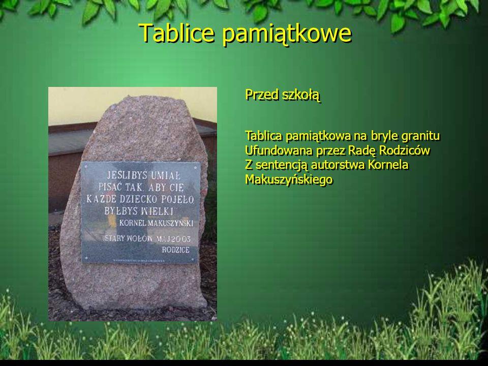 Tablice pamiątkowe Przed szkołą Tablica pamiątkowa na bryle granitu