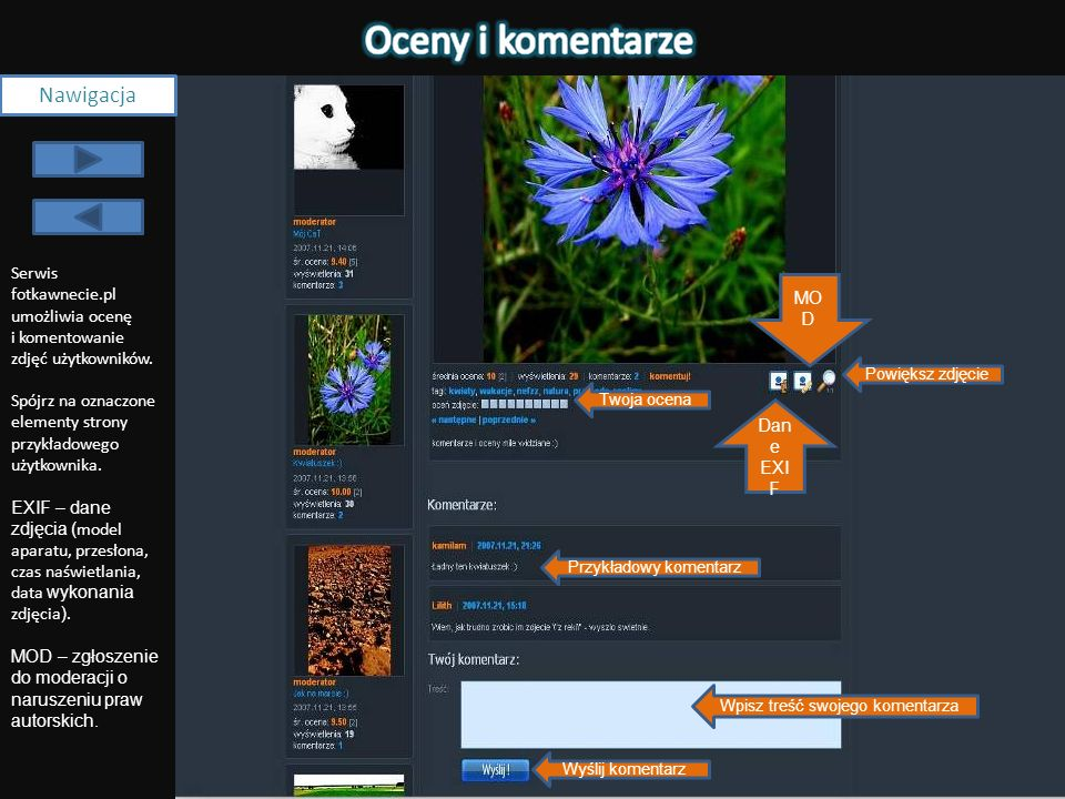 NawigacjaSerwis fotkawnecie.pl umożliwia ocenę i komentowanie zdjęć użytkowników. Spójrz na oznaczone elementy strony przykładowego użytkownika.