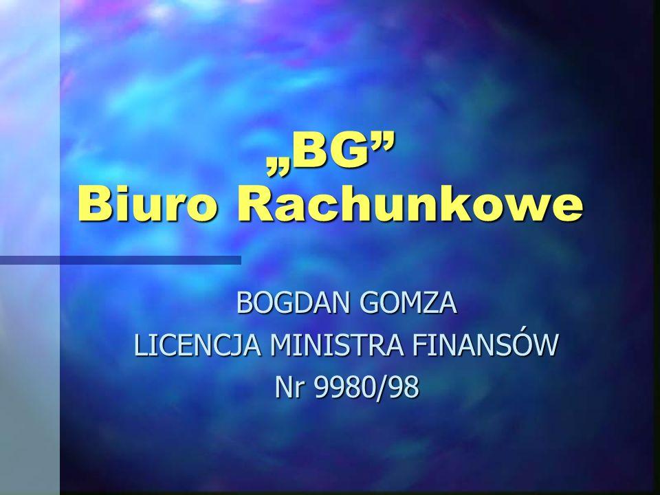 BOGDAN GOMZA LICENCJA MINISTRA FINANSÓW Nr 9980/98