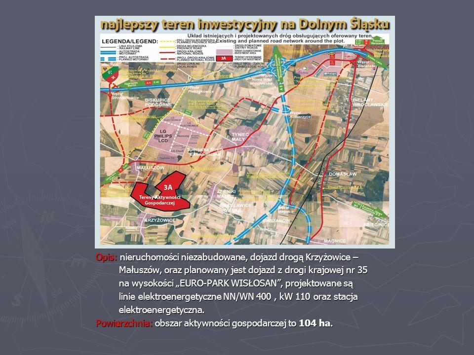 Opis: nieruchomości niezabudowane, dojazd drogą Krzyżowice –