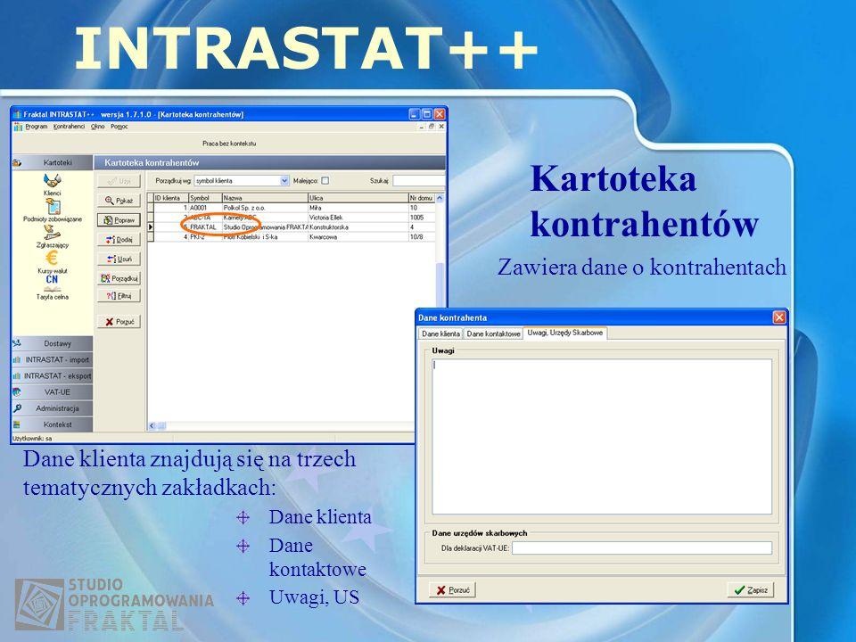 INTRASTAT++ Kartoteka kontrahentów Zawiera dane o kontrahentach