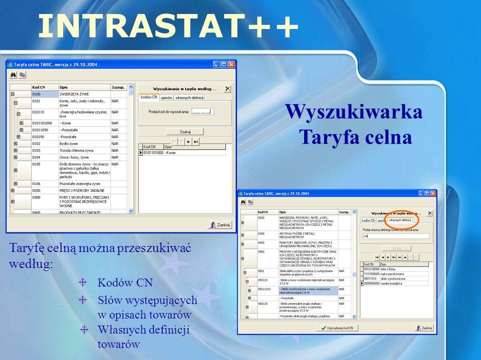 INTRASTAT++ Wyszukiwarka Taryfa celna