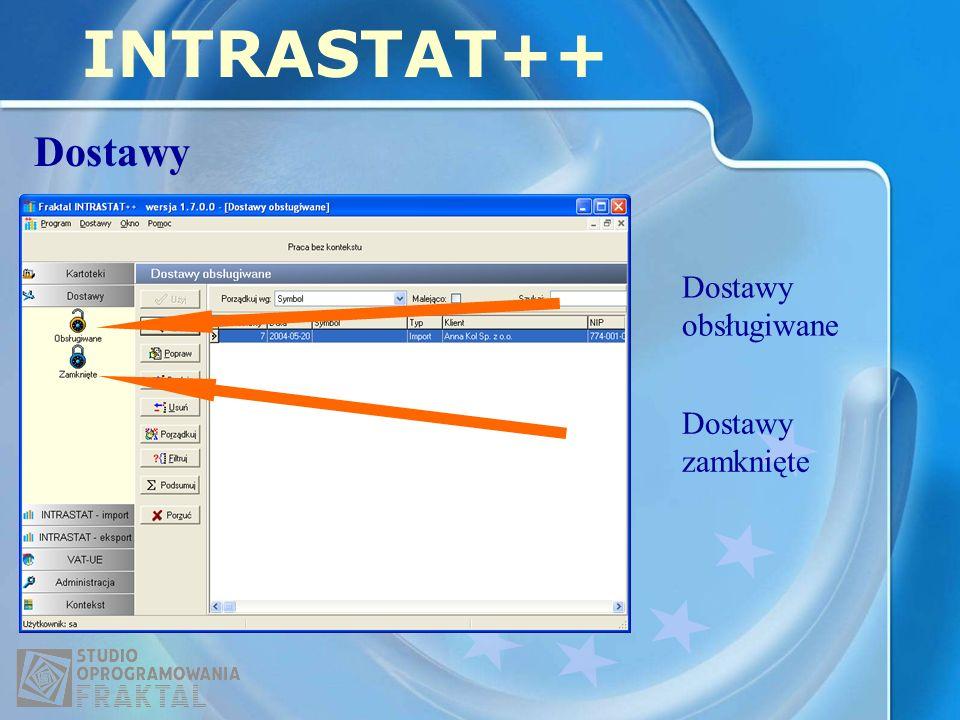 INTRASTAT++ Dostawy Dostawy obsługiwane Dostawy zamknięte