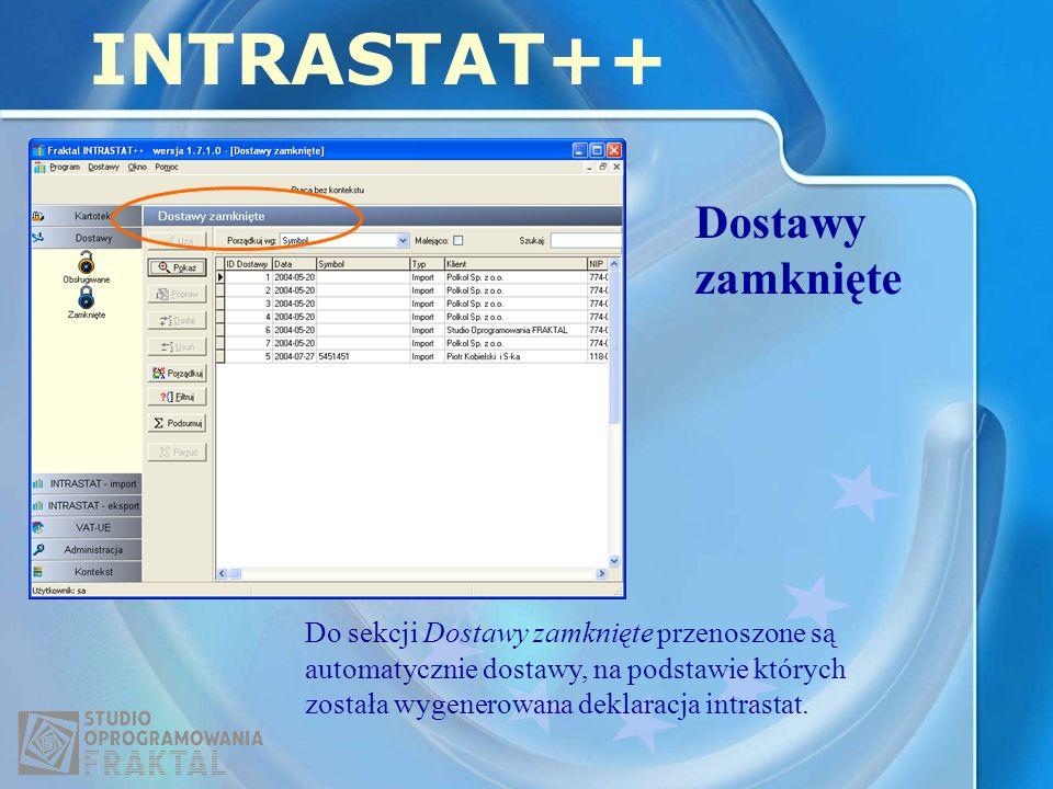 INTRASTAT++ Dostawy zamknięte