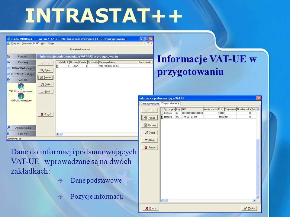 INTRASTAT++ Informacje VAT-UE w przygotowaniu