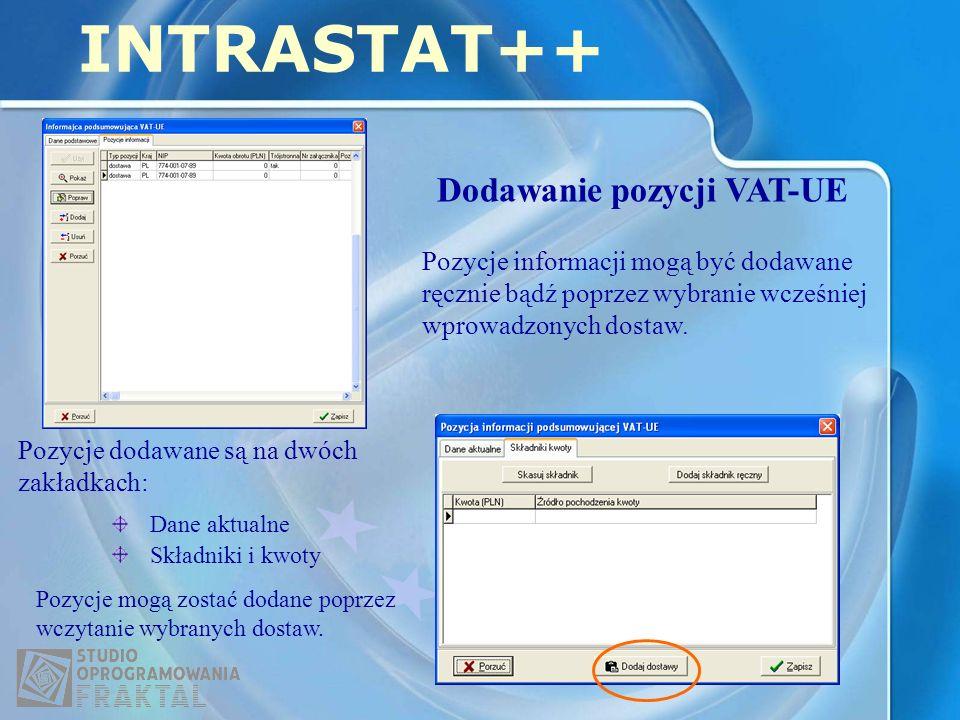 INTRASTAT++ Dodawanie pozycji VAT-UE