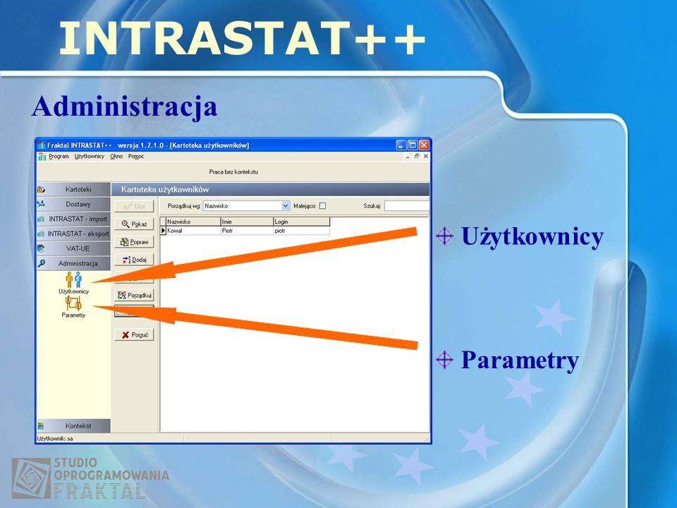 INTRASTAT++ Administracja Użytkownicy Parametry