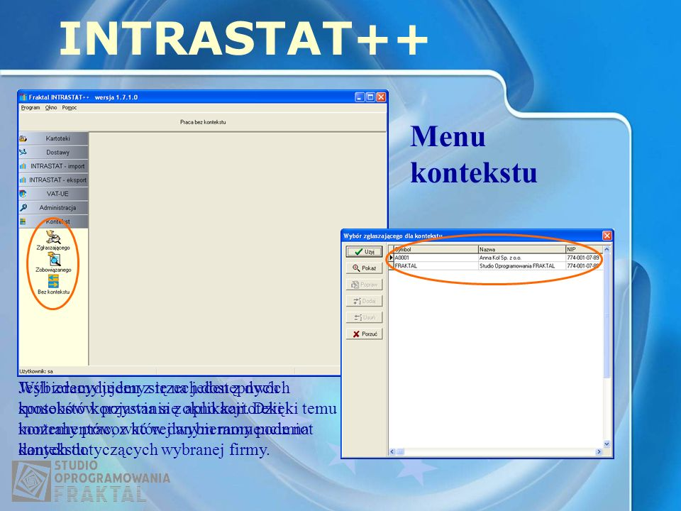 INTRASTAT++ Menu kontekstu