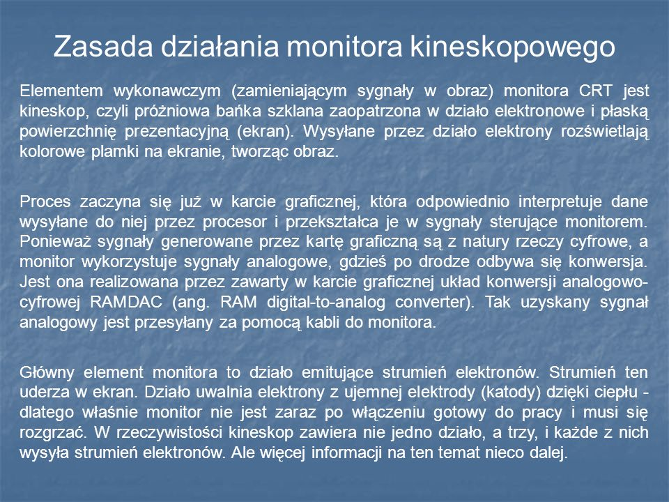 Zasada działania monitora kineskopowego