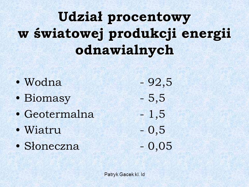 Udział procentowy w światowej produkcji energii odnawialnych