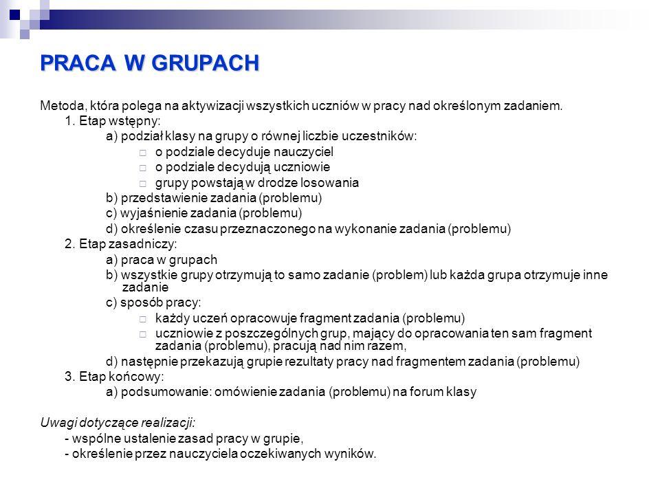 PRACA W GRUPACH Metoda, która polega na aktywizacji wszystkich uczniów w pracy nad określonym zadaniem.