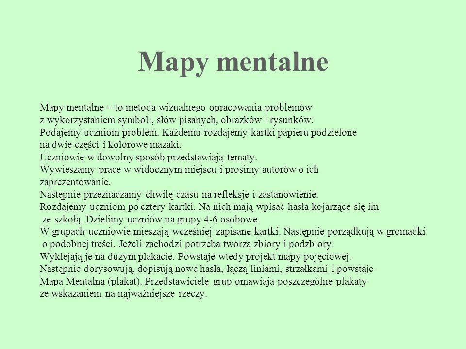 Mapy mentalne Mapy mentalne – to metoda wizualnego opracowania problemów. z wykorzystaniem symboli, słów pisanych, obrazków i rysunków.
