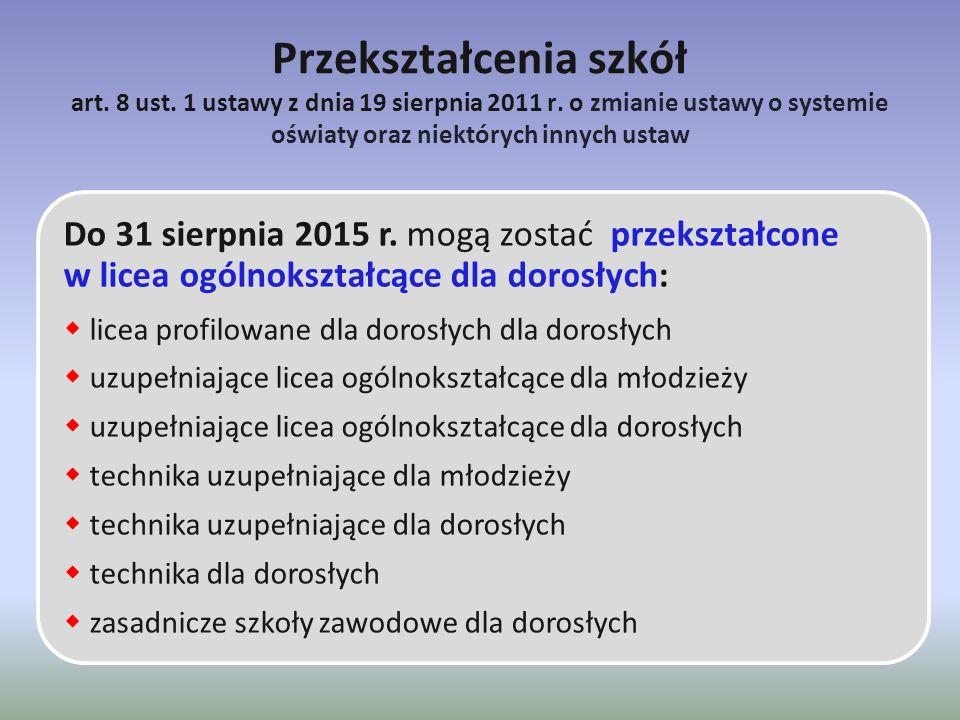 Przekształcenia szkół art. 8 ust. 1 ustawy z dnia 19 sierpnia 2011 r