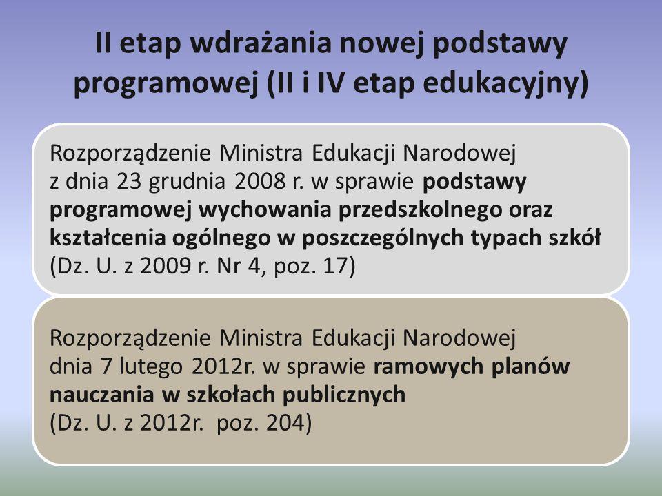II etap wdrażania nowej podstawy programowej (II i IV etap edukacyjny)