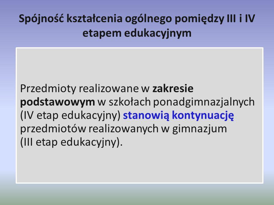 Spójność kształcenia ogólnego pomiędzy III i IV etapem edukacyjnym