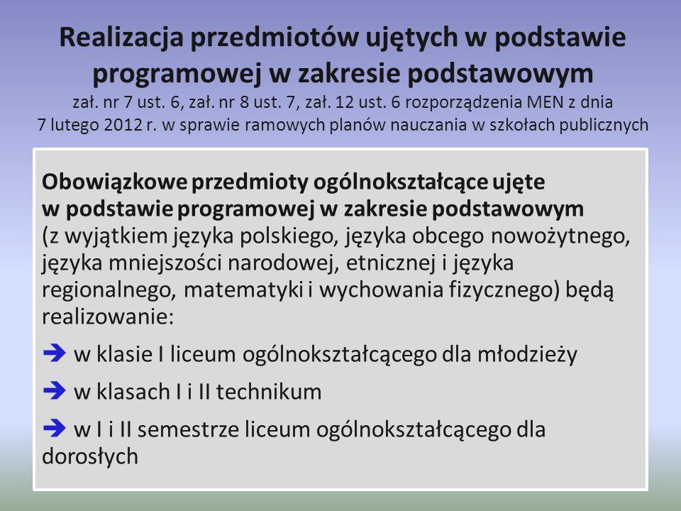 Realizacja przedmiotów ujętych w podstawie programowej w zakresie podstawowym zał. nr 7 ust. 6, zał. nr 8 ust. 7, zał. 12 ust. 6 rozporządzenia MEN z dnia 7 lutego 2012 r. w sprawie ramowych planów nauczania w szkołach publicznych