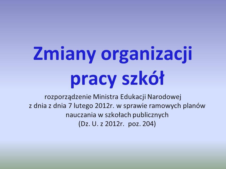 Zmiany organizacji pracy szkół