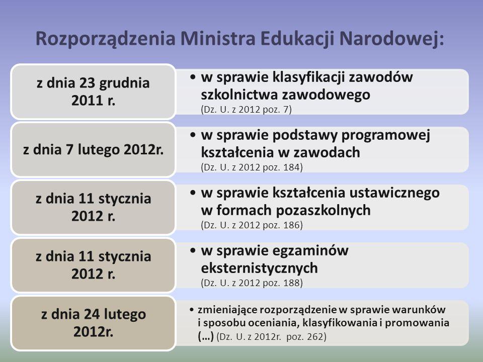 Rozporządzenia Ministra Edukacji Narodowej: