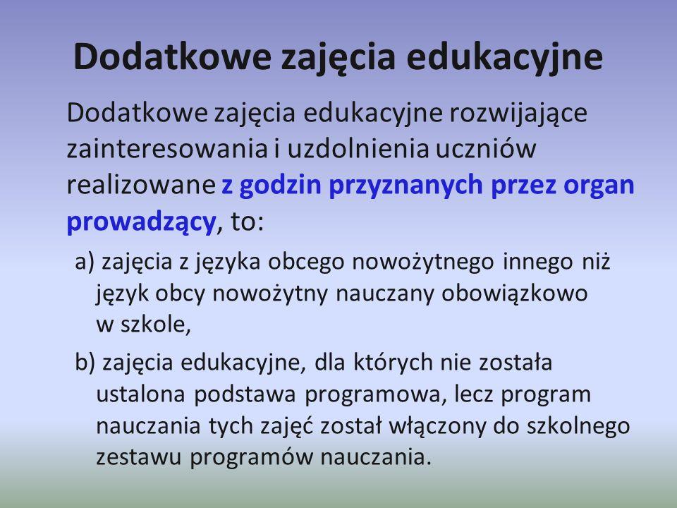 Dodatkowe zajęcia edukacyjne