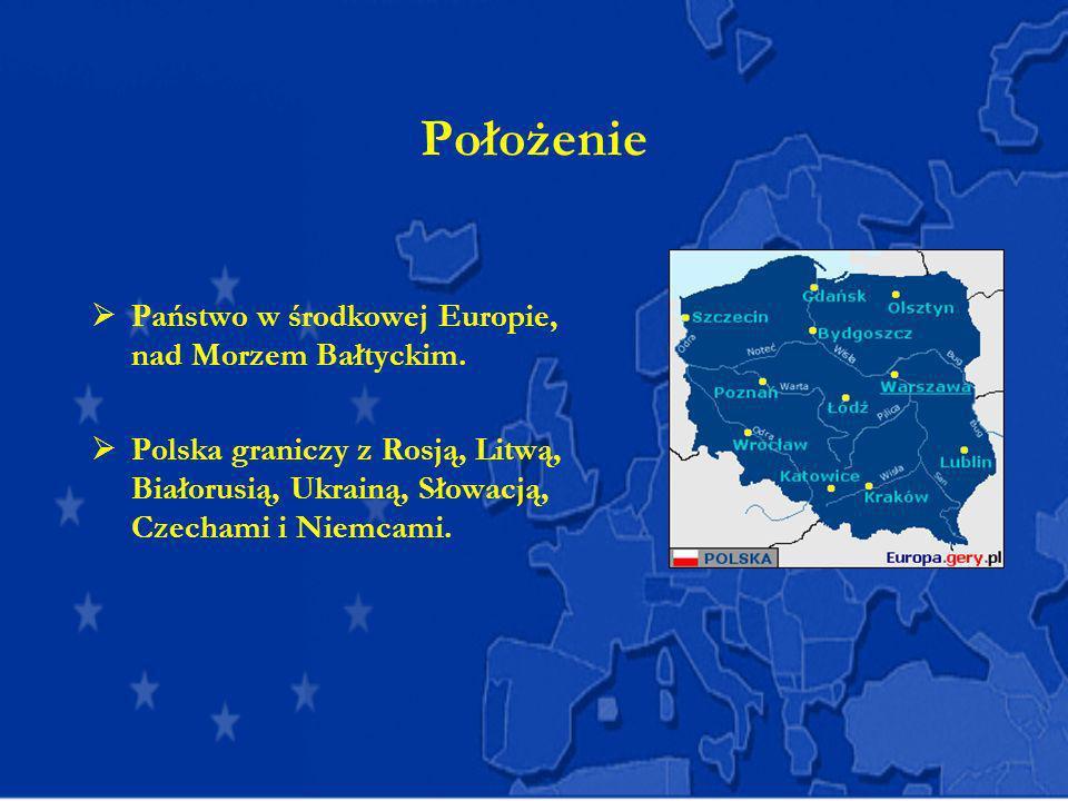 Położenie Państwo w środkowej Europie, nad Morzem Bałtyckim.