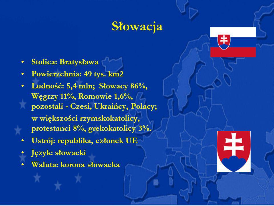 Słowacja Stolica: Bratysława Powierzchnia: 49 tys. km2