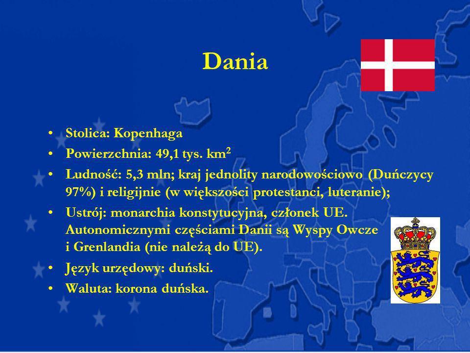 Dania Stolica: Kopenhaga Powierzchnia: 49,1 tys. km2