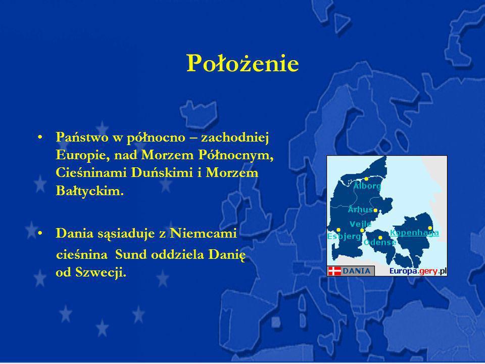 Położenie Państwo w północno – zachodniej Europie, nad Morzem Północnym, Cieśninami Duńskimi i Morzem Bałtyckim.