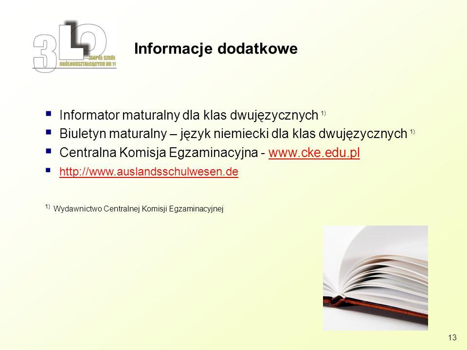 Informacje dodatkowe Informator maturalny dla klas dwujęzycznych 1)