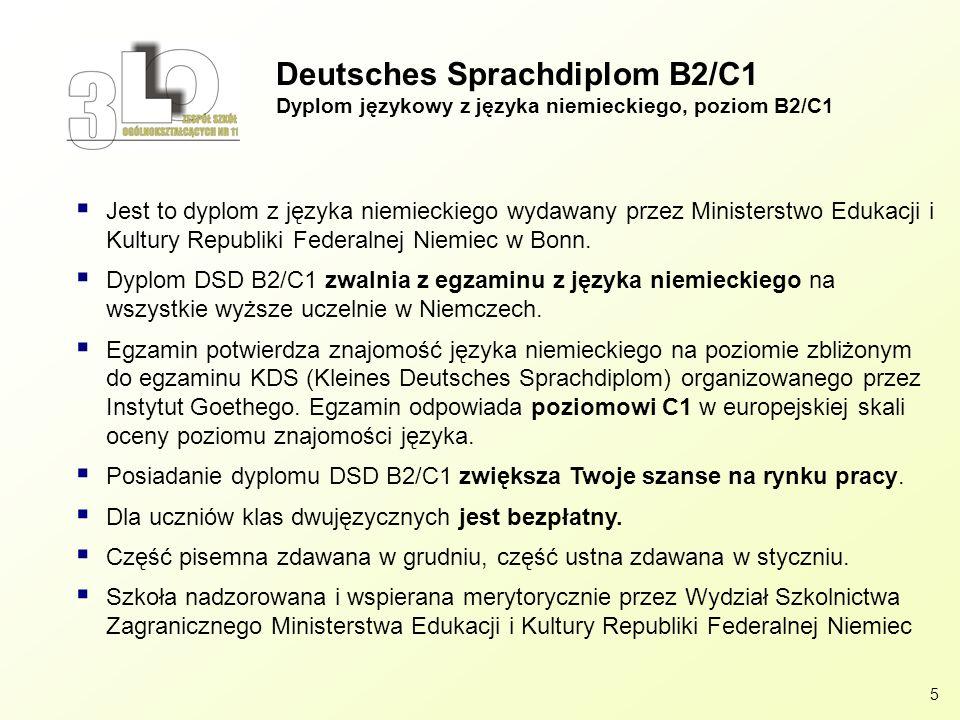 Deutsches Sprachdiplom B2/C1 Dyplom językowy z języka niemieckiego, poziom B2/C1