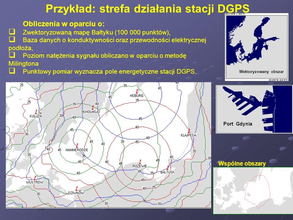 Przykład: strefa działania stacji DGPS