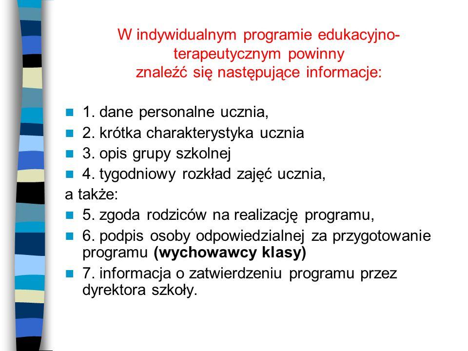 W indywidualnym programie edukacyjno-terapeutycznym powinny znaleźć się następujące informacje:
