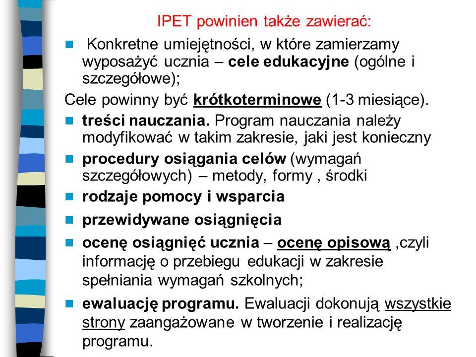 IPET powinien także zawierać: