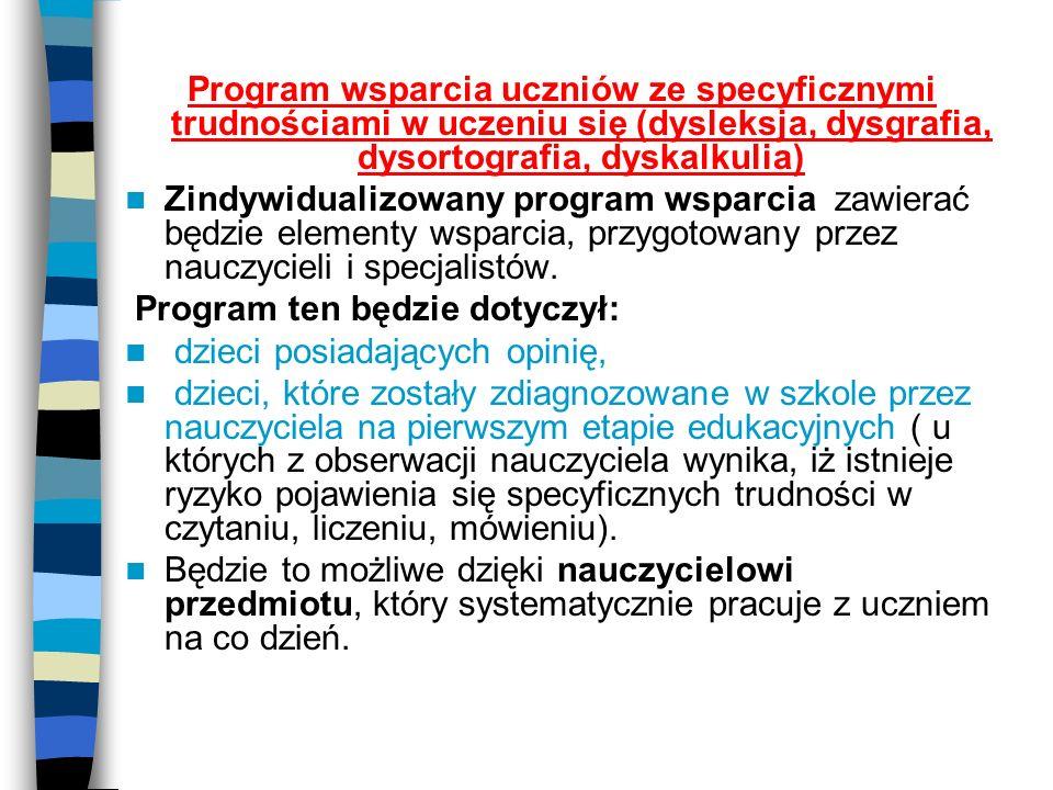 Program wsparcia uczniów ze specyficznymi trudnościami w uczeniu się (dysleksja, dysgrafia, dysortografia, dyskalkulia)